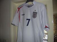 Official Large Size UMBRO ENGLAND HOME FOOTBALL SHIRT BECKHAM 7 (2005-07) Collect NORTHAMPTON