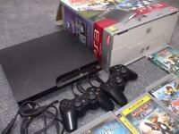 Playstation 3, in original box. It comes complete with 2 x dual shock games controllers,