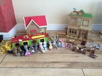 Sylvanian Families Bundle including; Canal Boat, Cottage, School, Furniture and 25 Characters
