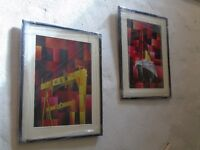 Contemporary Prints of Titanic and Samson and Goliath with card mounts, glass and black frames.
