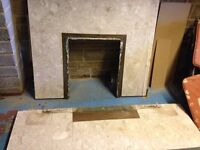 Marble back and marble hearth for fire surround / fire place