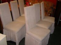Set of 6 High Back Dining Chairs in Natural Canvas Effect Fabric