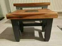 Unigue Grey Solid Wood Nest of Tables
