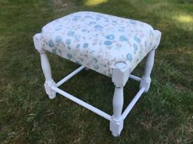 Vintage Hand Painted Reupholstered Small Footstool