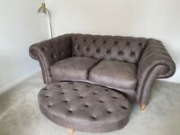 2 x Next Chesterfield Sofa and Footstool