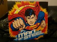 Set of 2 Superman DC comic artwork canvas