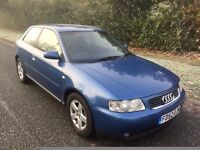 AUDI A3 1.8T SPORT 03 REG 3 DOOR IN BLUE WITH GREY TRIM,ONLY 96,400 MILES, MOT NOV 2017- 07867955762