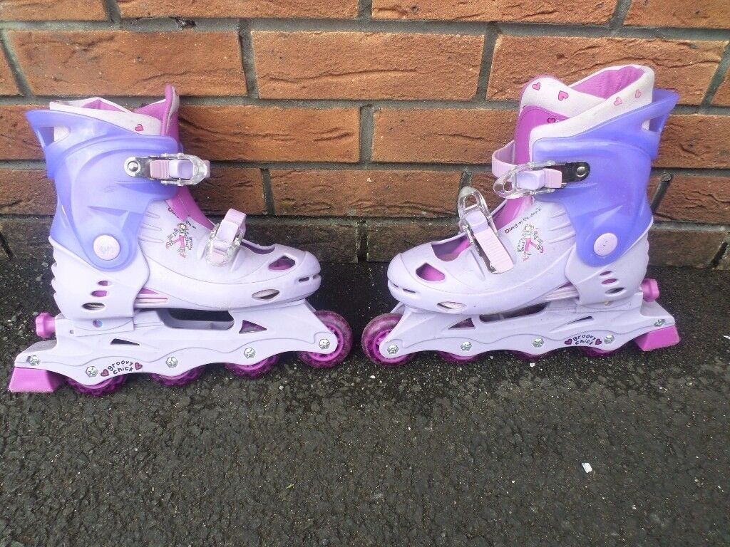 GIRL'S ADJUSTABLE PINK & PURPLE ROLLER BLADES / IN-LINE SKATES SIZE 2-4