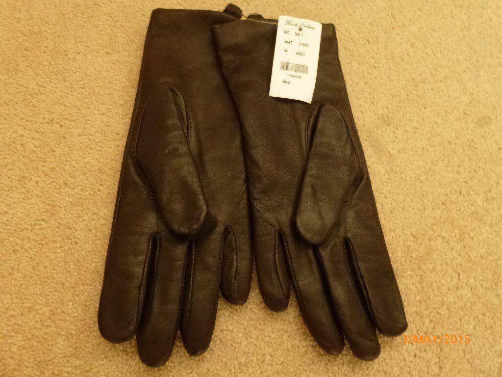 Ladies Dark Brown Genuine Leather Brooks Bros 346 style gloves with warm lining - Medium