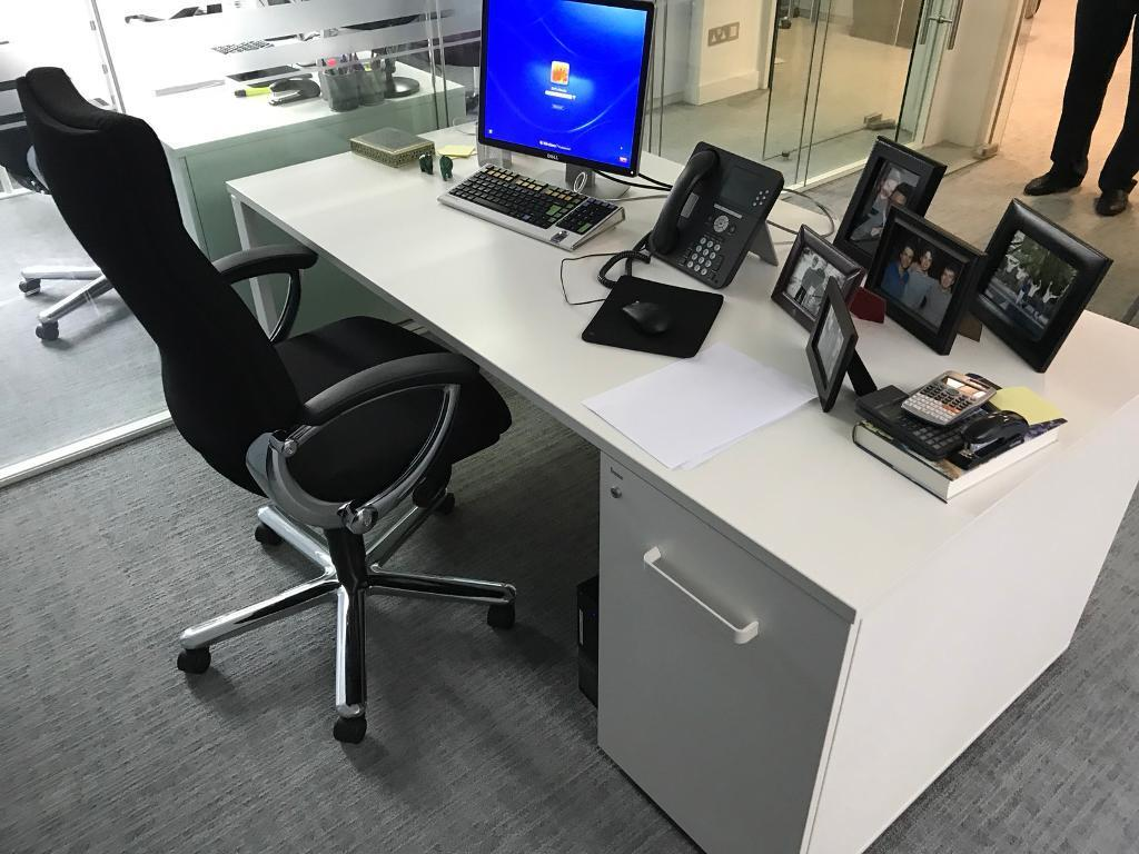 bene office furniture. White Bene Office Desk With Pedestal Furniture N