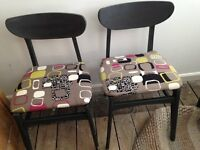 TWO RETRO UPCYCLED DINING CHAIRS