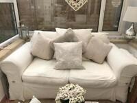 Laura Ashley Cream Fabric Sofa