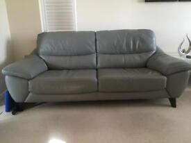 3 Seater Settee and Chair In Grey Leather