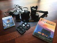 Nikon D90 body with 2 Nikon lenses and 1 tamron zoom 17-50 lens plus extras