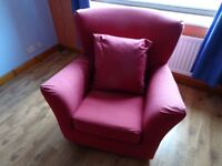 Red fabric armchair, comfy and in good condition