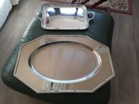 inox tray by Jean Couzon, dining tray, large tray for buffet display, Jean Couzon design