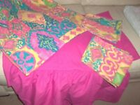 Bright and beautiful double bed duvet set - cover, 2 pillow cases and valanced fitted sheet