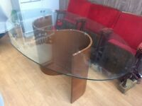Glass top dining table retro mid century modern design