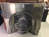 Acquisitions-Of-London-Cameo-Cast-Iron-Fireplace-Fire-Insert and wooden surround