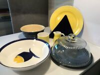 Quantity of Yellow and Navy useful and decorative items for the Kitchen