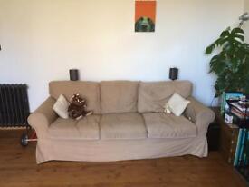 2 X Three Seater Sofas - £95. IKEA Erktorp Cream.