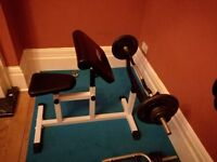 Biceps curl bench and curl barbel bar (4ft long) with weights