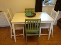 PRICE DROP FOR QUICK SALE -Charming bespoke solid wood kitchen table and 4 solid wood dinning chairs