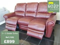 Designer Brown leather 3 seater + 3 seater sofa (122) £899