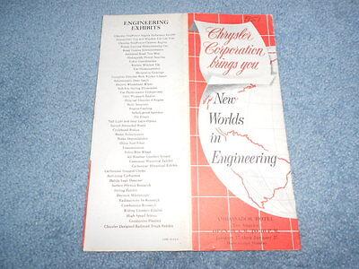 1951 CHRYSLER NEW WORLDS IN ENGINEERING BOOKLET AMBASSADOR HOTEL EXHIBIT DeSOTO