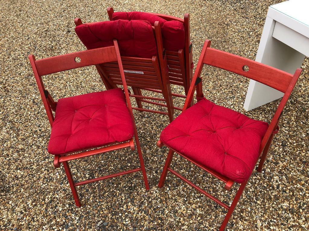Enjoyable Set Of 4 Red Fold Up Chairs In Danbury Essex Gumtree Ibusinesslaw Wood Chair Design Ideas Ibusinesslaworg