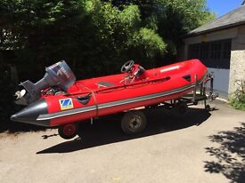 Zodiac Futura inflatable with 30hp Yamaha outboard road trailer and launching trolley