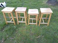 4 wooden stools