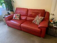 RED LEATHER ELECTRIC RECLINER SOFA 210cm WIDE