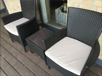 Set of Outdoor Rattan Chairs & Table with Glass Top (Barely Used)