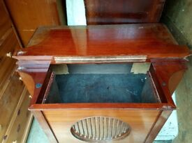 Unusual bow fronted grammaphone cabinet