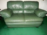 "Quality leather sofa, Reid's ""Layla"" style, dark green, tiptop condition"