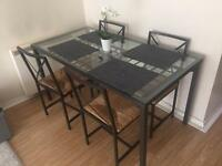 PRICE CAN BE NEGOTIATED! Lovely Glass top Dining Table and 4 chairs IKEA GRANAS