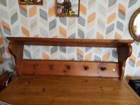 Solid wood 1920s coat rack and shelf