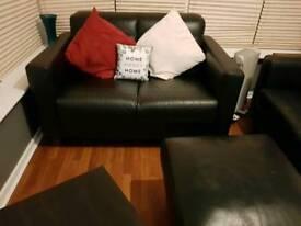 Three piece leather suite