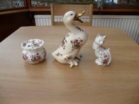 Bargain 5 Item Job Lot Car Boot Bone China Cat And Trinket Box Matching Ceramic Duck Jug Dish Clock