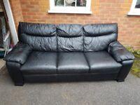 ( I DELIVER ) black leather 2 & 3 seater sofas