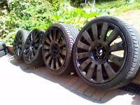 19 inch Gloss black alloys with good tyres.VW SEAT AUDI MERCEDEZ SKODA
