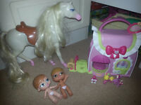Toys including My Little Pony playhouse