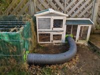 Rabbit hutch and two covers plus separate enclosure and runaround connection kit