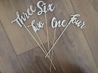 "15 laser wood-cut table numbers, from ""One"" to ""Fifteen"""