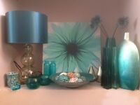 NEXT teal rug, canvas, large lamp and accessories