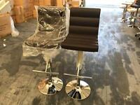 2 x Benito bar stools in brown, brand new.