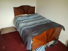 Vintage double bed - solid wood and metal sprung frame + mattress