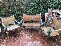 Antique garden furniture with unique horse design
