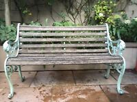 Traditional iron and wood bench